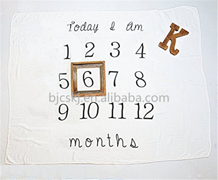 Personalized Month Milestone Baby Blanket,Keep Track of the Perfect Props for Child Growth