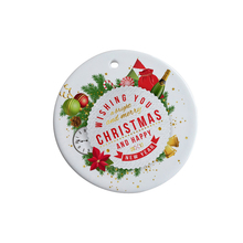 "3"" Sublimation White Christmas Ceramic Ornament( Round Shape)"