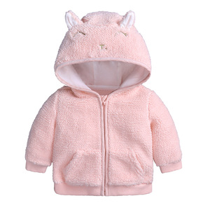 2019 customized cartoon animal faux fur sherpa baby hoodie new born baby coat with hood
