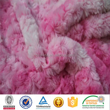 beautiful embossed rose swirlfur pv plush fabric for making soft toys