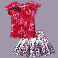 New Spring And Summer Girls Suit O-Neck Top With Cute Skirt Baby Stylish Comfortable Coat Wholesale Kids Wear CS81010-85Z