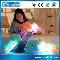 Cute Lies Prone Plush Dog Soft Stuffed Plush Dog Toy With Led