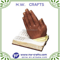 Resin African American Praying Hands with bible