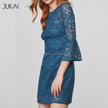 OEM Blue Lace Short Sleeve Sexy Party Gambar Sex Dress Most Popular China