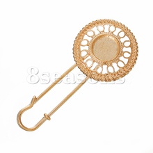 Top Quality Safety Frame Setting Brooches Round Rose Gold Cabochon Setting Hollow 6.8cm x 3cm,10PCs