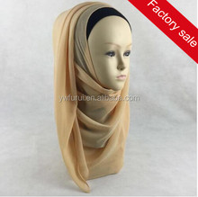 Wholesale Fashion Chiffon Plain Instant Shawl Solid Color Slip On Mulsim Hijab Islamic Scarves Long Scarfs