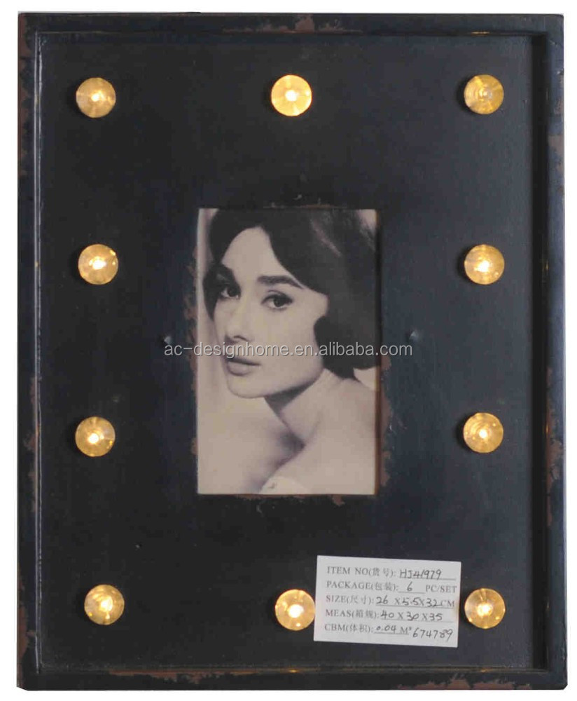 ANTIQUE BLACK RECTANGULAR LED WOODEN PHOTO FRAME