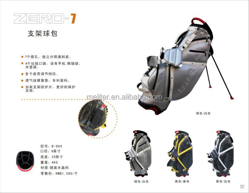 Waterproof PU and pvc crystal made luxury golf bags