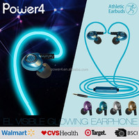 Alibaba china supplier sporter el glowing flashing earphone for gionee