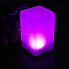 Decorative Portable Lighting Indoor Battery Operated Glass LED Table Lamp With 12 Color Changing