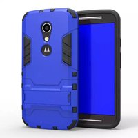 [Heavy Duty] Shock-Absorption Kickstand Hybrid Dual Layer Armor Defender Protective Case Cover for Motorola Moto G2