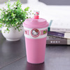 Customized cute ceramic travel mug cups with straw and sleeve
