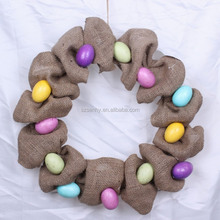 Front Door Decoration Burlap Egg Wreath for Easter Holiday