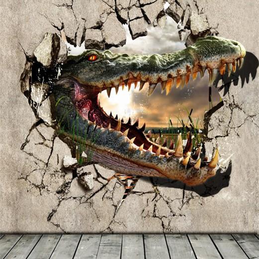 3d 007 gigante coccodrillo crash fuori il muro non  tessuto 3d ...