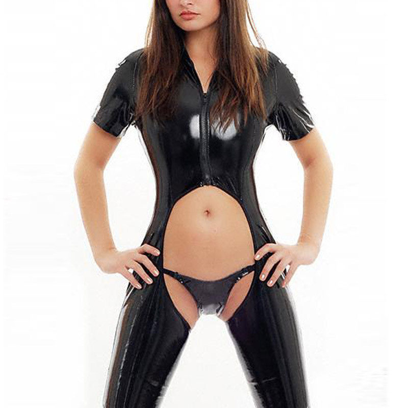 2016! Online Resell Women Hot Sale Sexy Black Wet Look Leather Catsuit Plus M L Xl Size