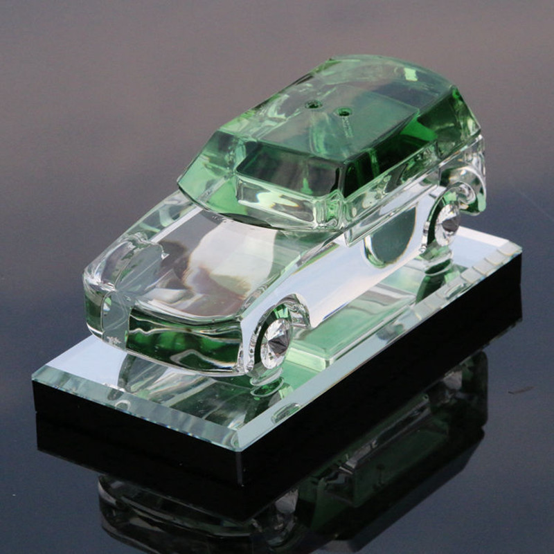Landrover Green Christmas Crystal Glass Model Cars 1:18 Decoration