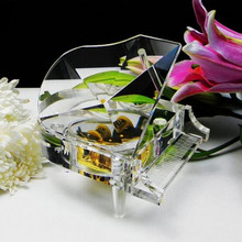 Hot Sale Fashional Crystal Piano Music Box for Wedding Souvenirs & Home Decoration