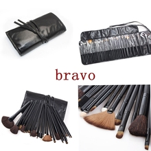 black wood handle 32pcs professional private label makeup brush kit PU leather pouch bag Pincel Maquiagem