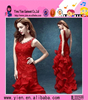 2016fashion Europe market hot sale party dress elegant sleeveless fishtail red evening dress for ladies