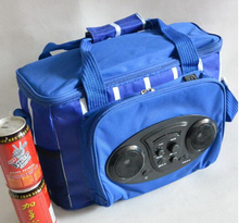 Removable trolley with large wheels picnic bags cooler bag with built in speakers