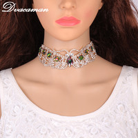Dvacaman 2017 Fashion Unique Design Jewelry Luxury insect shaped colorful stone Crystal Collar Choker Necklace