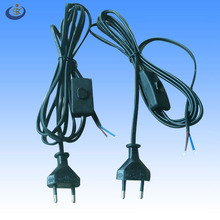VDE approval 250V 2.5A euro standard 2 pin round power cord with 303 switch and stripped end