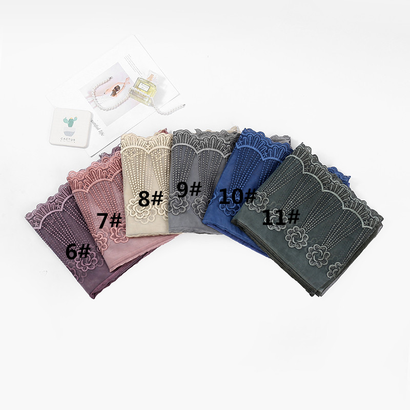 High quality embroidered lace shawls and wraps cotton voile lace muslim hijab scarf