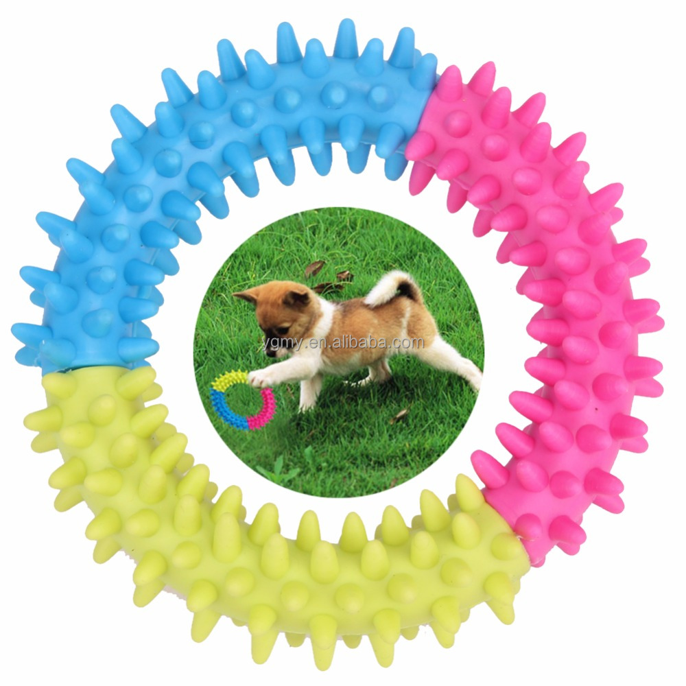 Dog's Toys Pet Traning Products Pets 3 Color Embossment Spinose Ring TPR Rubber Toys Resistance to bite