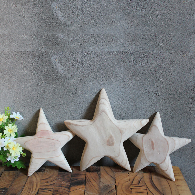 Pack Of 10 Unfinished Wooden Star Cutouts for Kids Crafts Christmas Tree Ornaments Hanging