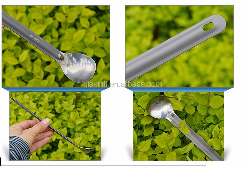Outdoor Camping Picnic Long Handle Titanium Spoon