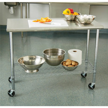 Commercial Hot Sale Hotel Restaurant Kitchen Equipment Stainless Steel Mobile Work Table With Wheels