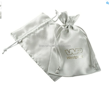 White Satin bag with printed
