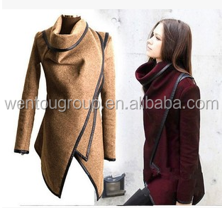 leather trim zipper women winter jacket