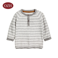 Front Two Button Stripe Knit Sweater
