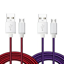 Premium Nylon Braided 6ft High Speed Micro USB Charger USB 2.0 A Male to Micro B Sync charge cable for Samsung