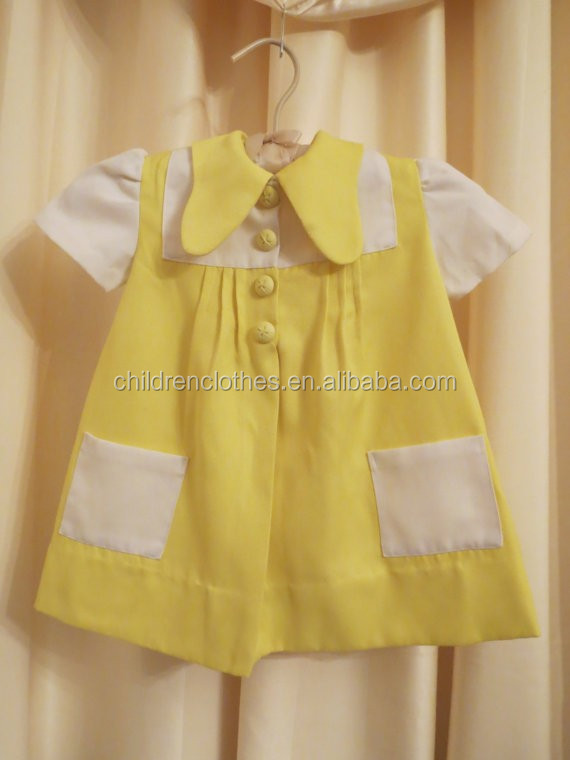 Wholesale Baby Fresh Style Dress Yellow With White Color Clothing Sets Girl Dresses