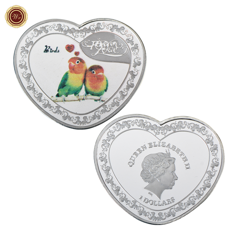 WR Parrot Colored Metal Coin Heart-shaped Birds Commemorative Coin Forever Love Silver Coin for Valentine's Day