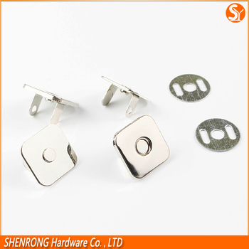 Die-casting plating 10/12/14/16/ 18mmx2mm square snap button with magnet