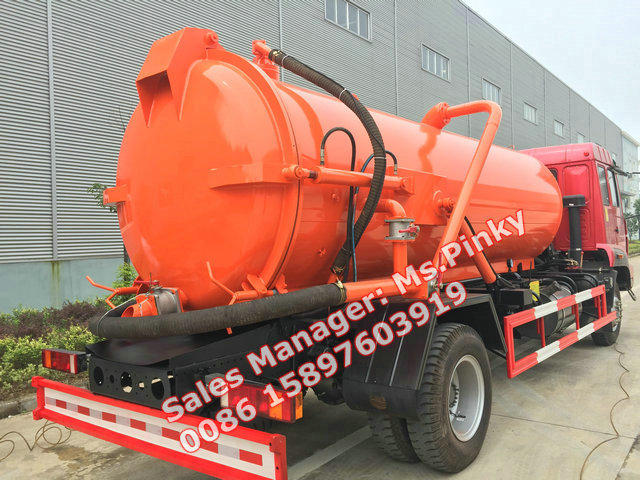 Sinotuck Gold Prince SDRC 8000Liters Cesspit Emptying and Septic Tank Emptying Trucks Suction Sewage Vehicles for Sales