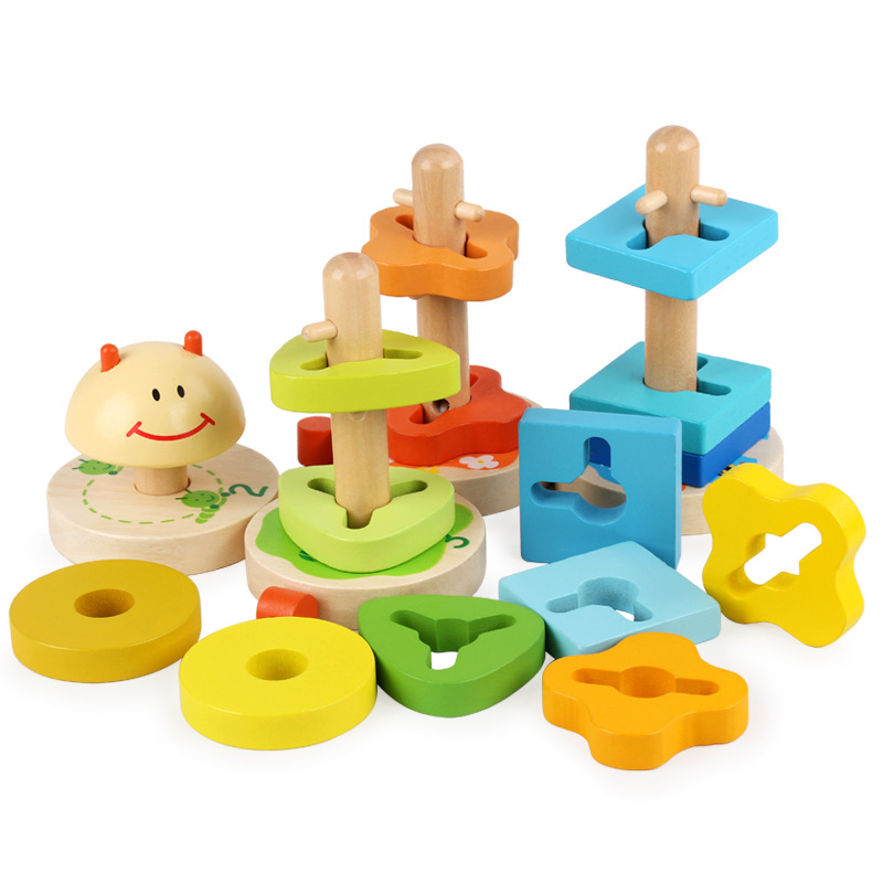 2020 Chinese Baby puzzle toys Wooden caterpillar Puzzle Game toys for Infant baby play educational toys WPT25