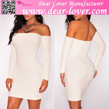 White Off Shoulder Long Sleeves Ladies Dress Women Sexy Short dress