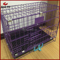 Folding Dog Kennel Metal Pet Cage With ABS Tray