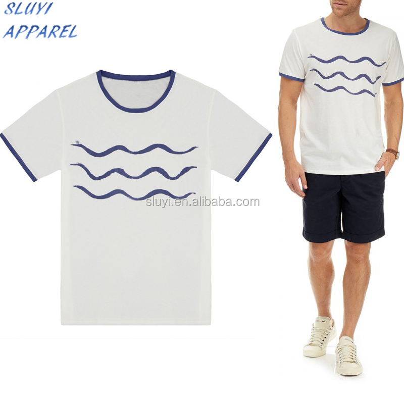 White T-Shirt With Wave Print OEM Custom O-Neck Short Sleeve 160g Wholesale mens tee wholesale egyptian cotton t-shirts blank