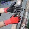 NMSAFETY red nylon coated pu gloves 4131 personal protective gloves