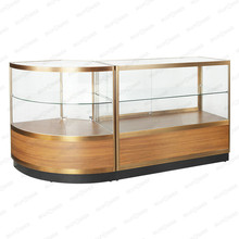 Circle arc shape combination counter/ tempered glass display cherry veneer cabinet/jewelry display cabinet