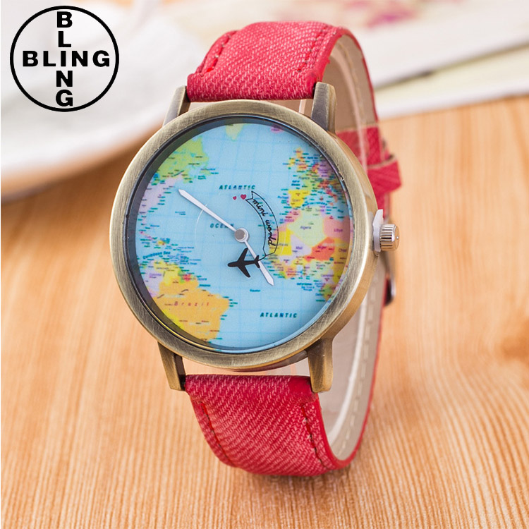 >>>2017 Fashion Originality Map of The World Watches With Denim Brown Copper Watch Wholesale/