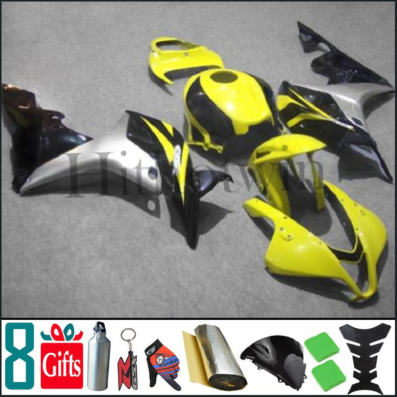 2007 2008 CBR600RR F5 black yellow INJ Fairings INJECTION MOLD Aftermarket Motorcycle Fairing For honda CBR 600 RR