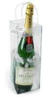 Red clear single bottle wine tote/transparent wine bags