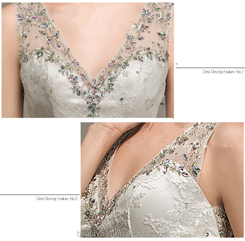 Modern V-neck Sleeveless Sexy Back Floor-length Mermaid Lace wedding dresses WD1648