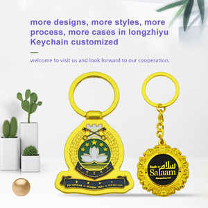 Longzhiyu 12years Manufacturer Promotional Personalized custom key chain with logo Glitter Gold metal keychain